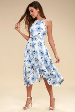 Lovely Blue and White Dress   Floral Print Dress  Midi Dress Zahara Blue and White Floral Print Midi Dress