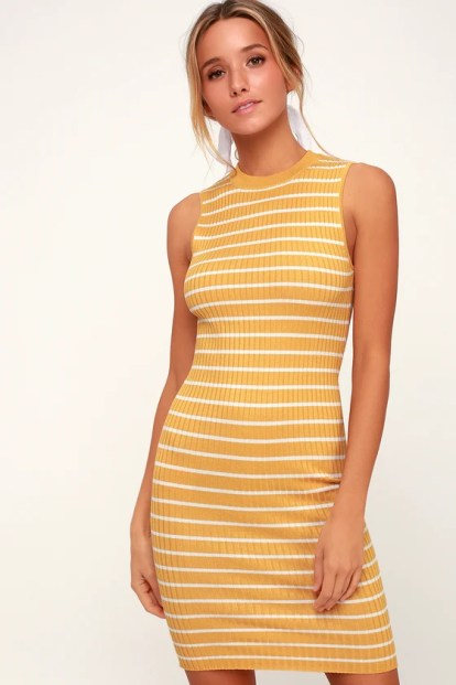 Syndicate Yellow Striped Ribbed Bodycon Midi Dress