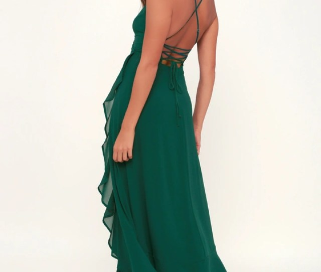 In Love Forever Emerald Green Lace Up High Low Maxi Dress