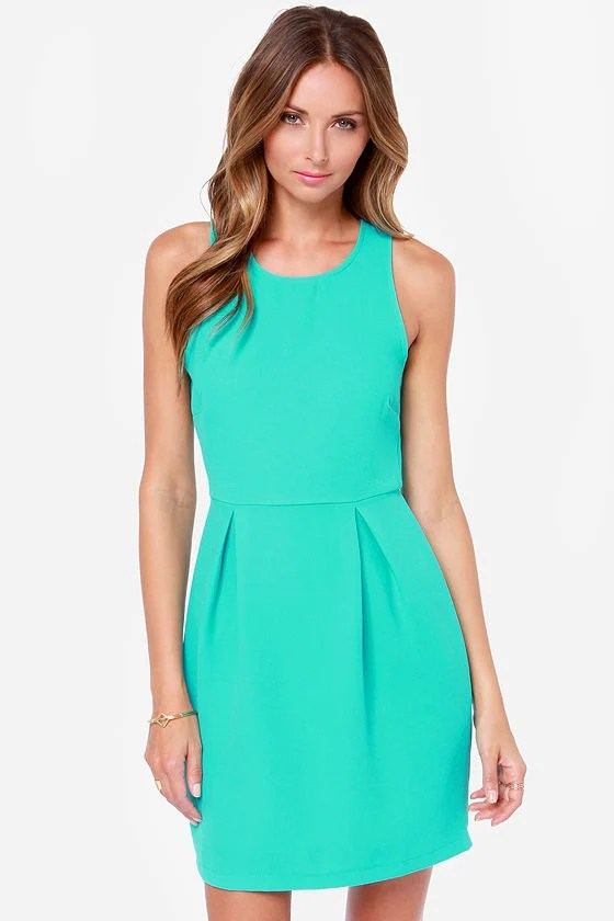 Pretty Turquoise Dress Sheath Dress Zipper Dress 4700