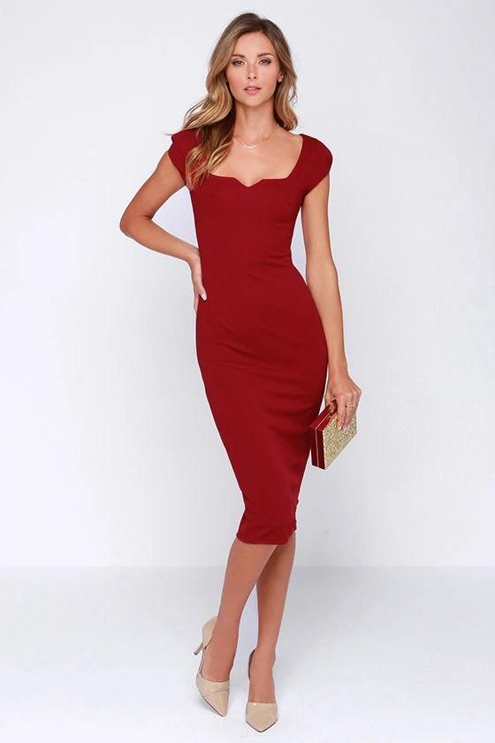 Chic Wine Red Dress Midi Dress Bodycon Dress 6400