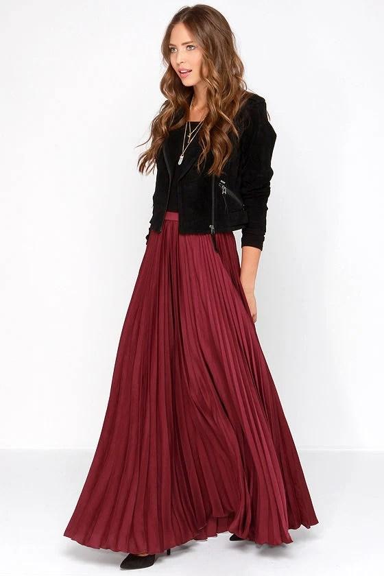 Pretty Burgundy Skirt Maxi Skirt Accordion Pleated