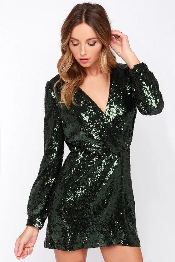 Cute Wrap Dress Sequin Dress Long Sleeve Dress Olive