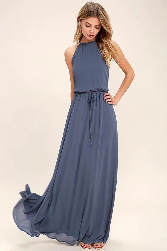 Lovely Denim Blue Dress Maxi Dress Sleeveless Dress