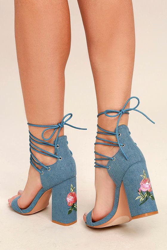 Blue Wedge Wedding Shoes