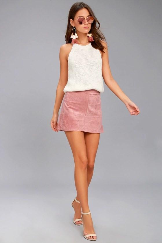 Shenandoah Mauve Suede Mini Skirt 8