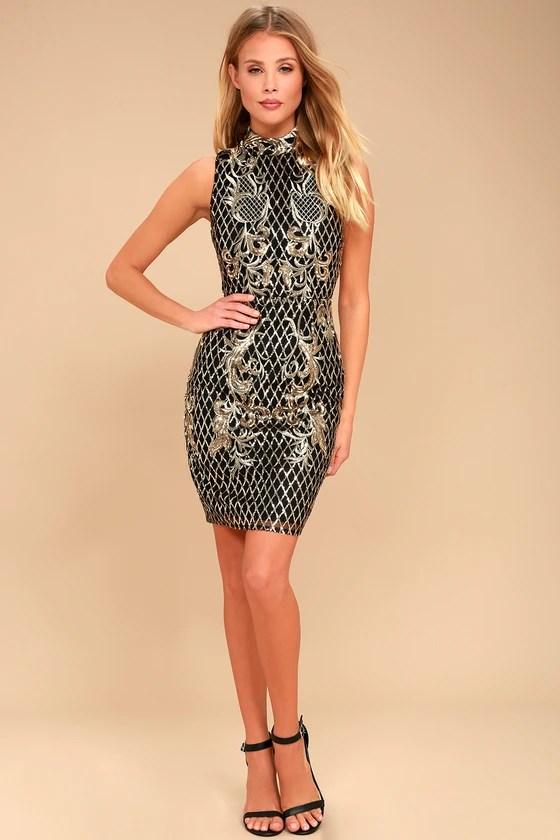 Stunning Sequin Dress Black And Gold Dress Short Dress