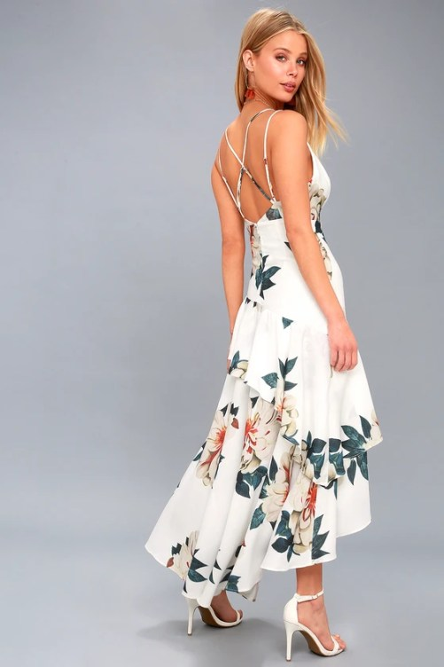 Blossom Tree White Floral Print High-Low Maxi Dress