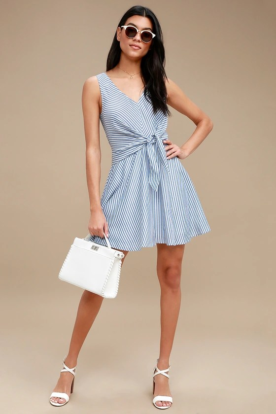 Teauge Blue and White Striped Tie-Front Dress 1