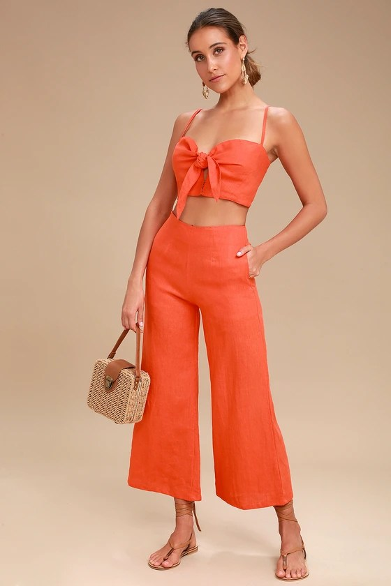 Tomas Coral Red Culottes 1