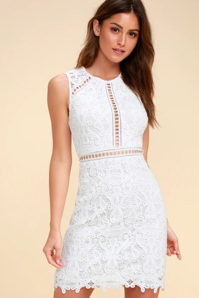 Dream Life White Lace Bodycon Dress