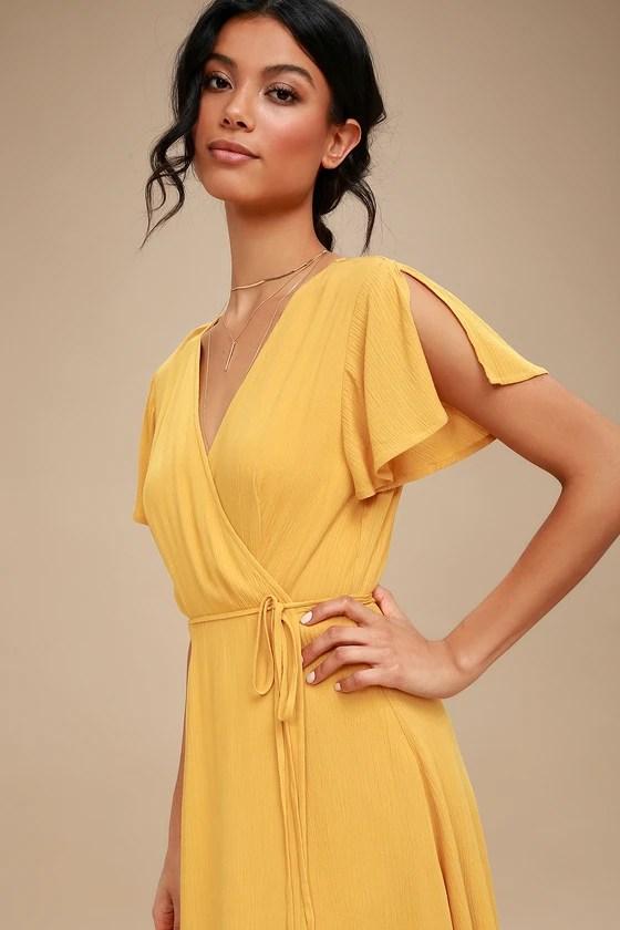 Cute Mustard Yellow Dress Wrap Dress Short Sleeve Dress