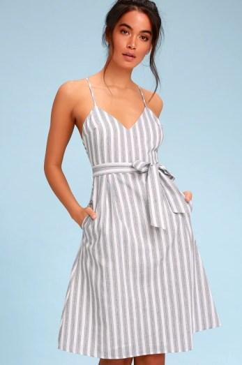 Nelson Black and White Striped Midi Dress