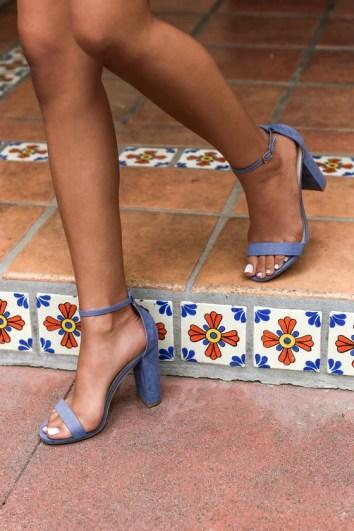 Taylor Blue Suede Ankle Strap Heels