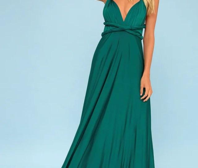 Always Stunning Convertible Emerald Green Maxi Dress