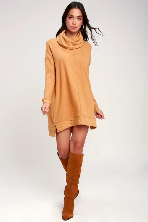Outono Daze Camel Cowl Neck manga comprida camisola vestido