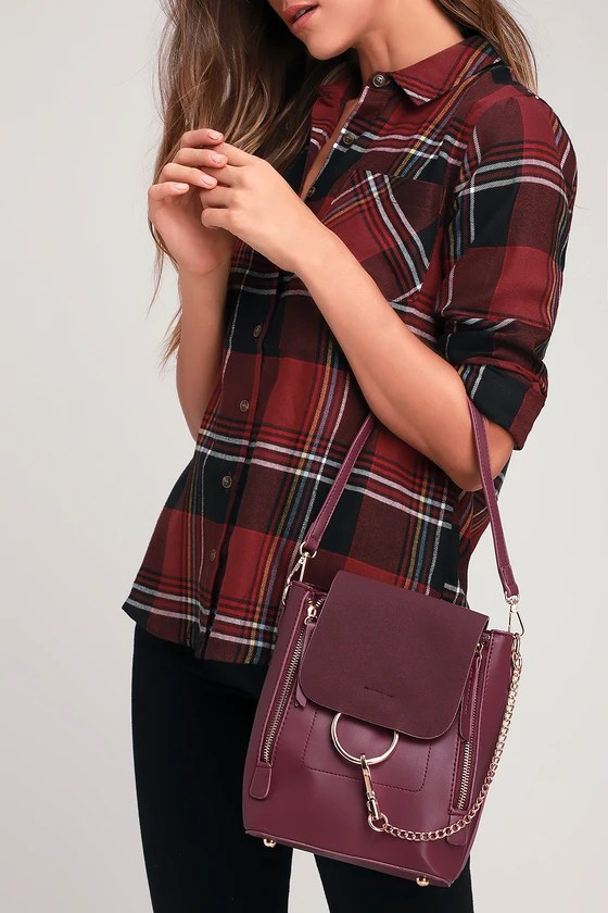 Sidewalk Stunner Burgundy Vegan Leather Backpack