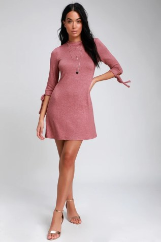 be5bf9e99a01 Tie a Little Love Washed Mauve Pink Tie-Sleeve Knit Swing Dress