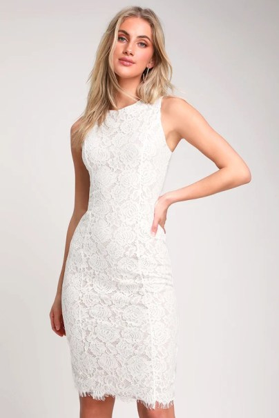 Corita White Lace Sleeveless Midi Dress