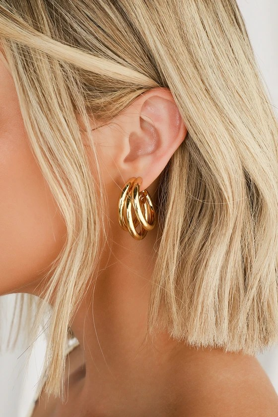 Three's A Crowd Gold Triple Hoop Earrings