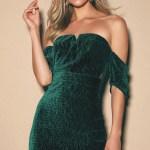 Luxe Velvet Dress Green Mini Dress Off The Shoulder Dress Lulus
