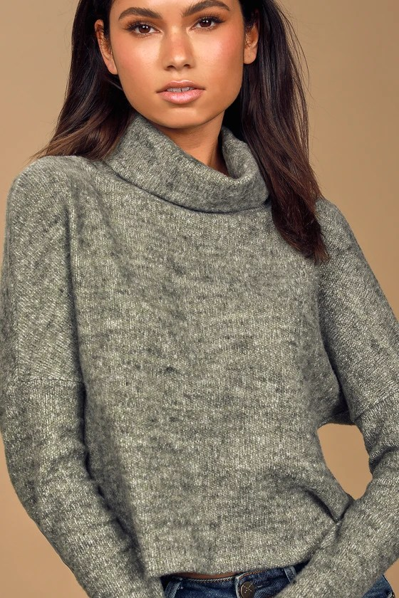 LULUS – PULL COL MONTANT GRIS VERT