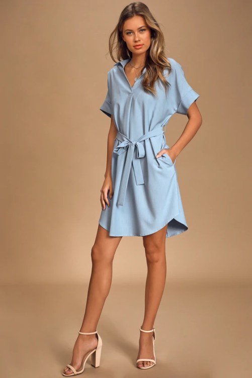Completely Chic Blue Chambray Belted Shirt Dress
