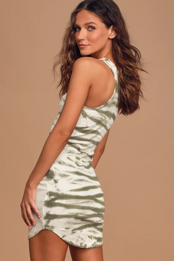 Perfectly Chill Green Tie-Dye Ribbed Bodycon Dress - Lulus