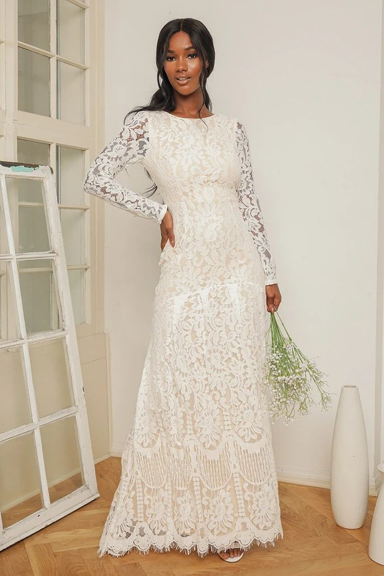 Say I Do White Lace Long Sleeve Mermaid Maxi Dress, UN Vacancy February 2021