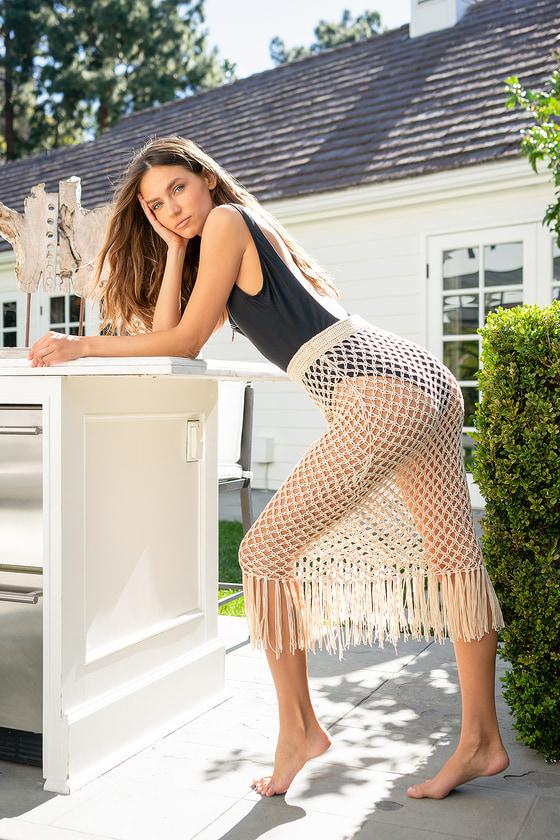 Sunshine and Fun Times Beige Crochet Fringe Swim Cover-Up Skirt