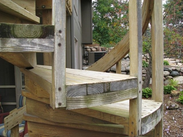 Outdoor Spiral Stairs By Judd Lumberjocks Com Woodworking | Building A Spiral Staircase | Spiral Stairs | Handrail | Old Fashioned | Wood | Double Spiral