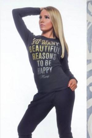 bluza dama cu imprimeuri cu scris din bumbac-Bluza MissQ Inviting Words Gold