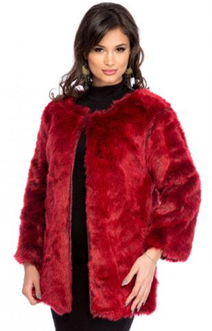 Haine elegante online din blana rosie