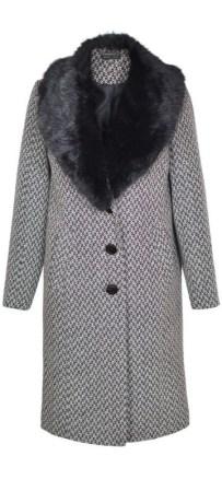 palton dama office din lana cu blana