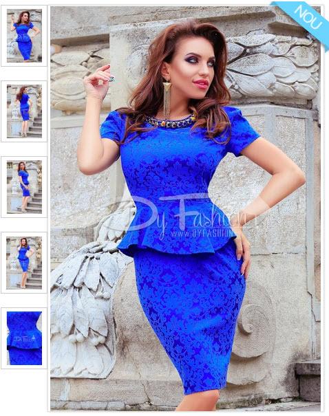 Rochie Mistering Blue rochie midi albastra de ocazie din jacard cu peplum masura xxl 3xl si 4xl