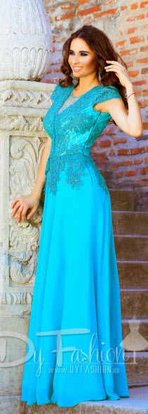 rochie lunga de seara masura mare culoare albastra