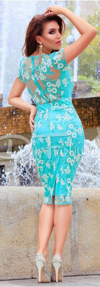 rochie midi de seara din dantela turcoaz