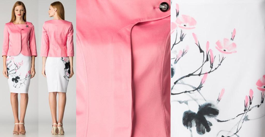 costum dama maiocci sacou roz si fusta cu imprimeu roz cu negru