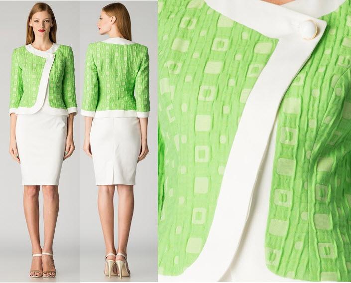 costum dama maiocci sacou verde si fusta alba
