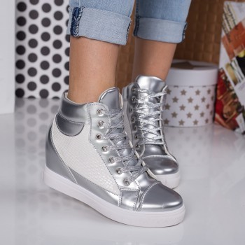 pantofi sport dama cu platforma argintii