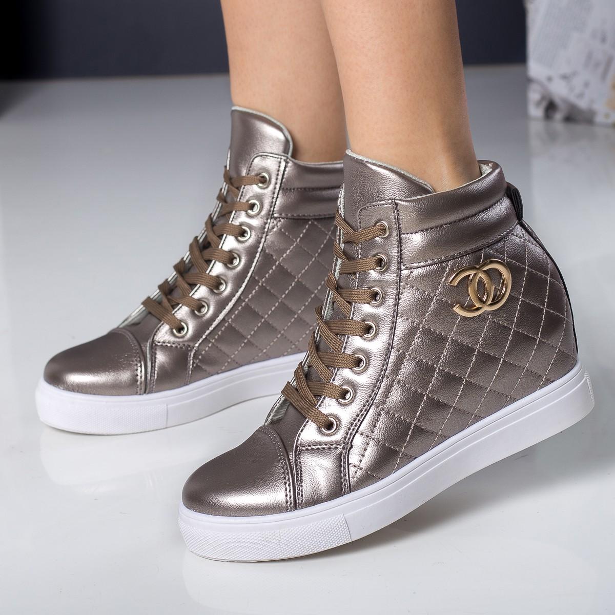 sneakers cu platforma argintii inchis