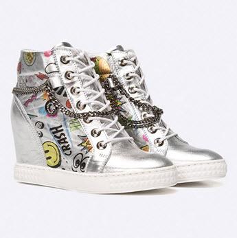 sneakers din piele naturala argintii cu imprimeu colorat by Carinii