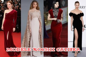 Modele rochii catifea online. Cu dantela si aplicatii in culori de vis
