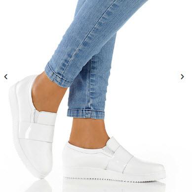 pantofi slipper din piele alba cu talpa platou cu design modern