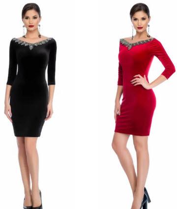 rochie catifea neagra scurta ieftina si rochie rosie din catifea cu strasuri