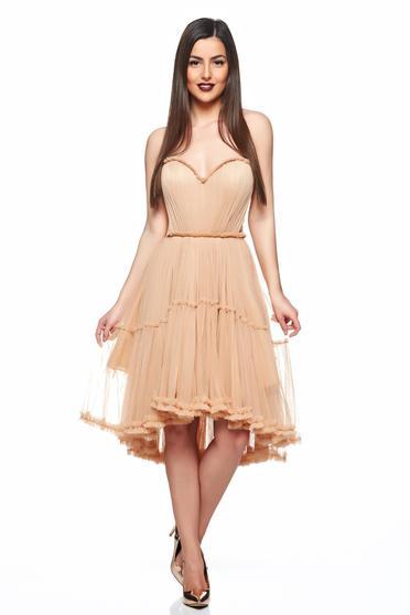 rochii de nunta scurte Ana Radu culoare crem din tul cu multe volane