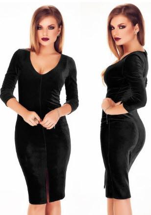 rochii din catifea neagra pana in genunchi cu despicatura pe picior si maneci lungi