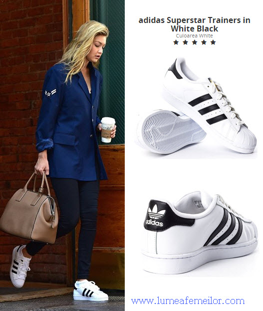 tenisi adidas dama model Superstar Trainers in White Black