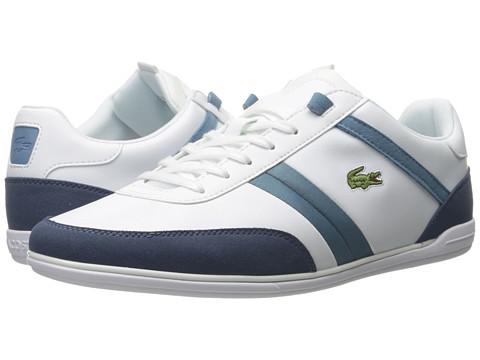 tenisi albi cu dungi albastre cu logo Lacoste