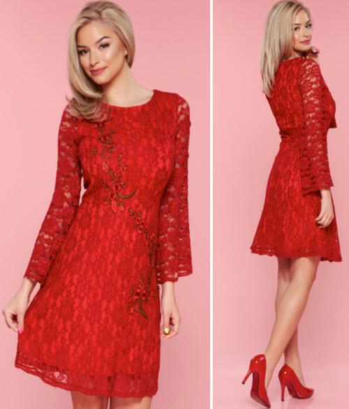 rochii scurte rosii cu maneci lungi rosii din dantela cu broderie aplicata